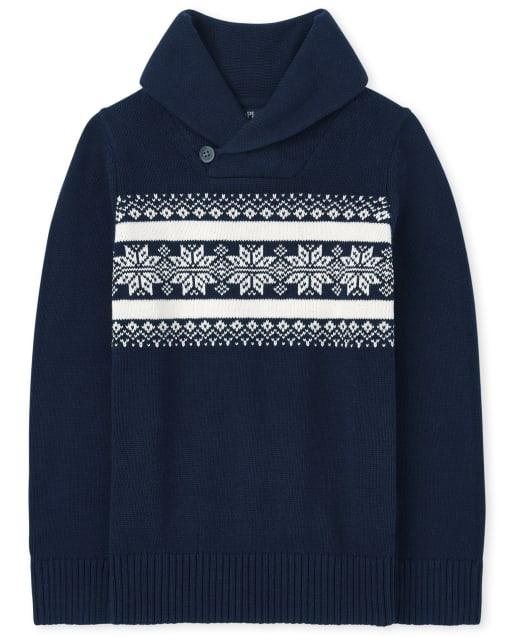 Boys Long Sleeve Fairisle Shawl Neck Sweater