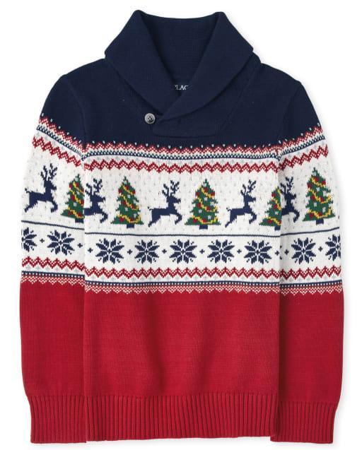 Suéter de cuello chal de fairisle navideño de manga larga para niños