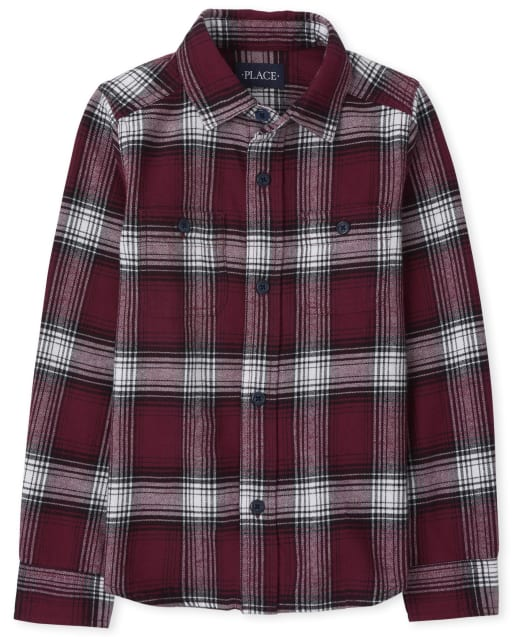 Boys Long Sleeve Plaid Flannel Button Down Shirt