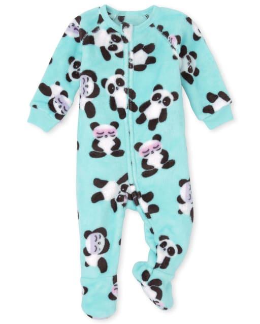Baby And Toddler Girls Long Sleeve Panda Fleece Footed One Piece Pajamas