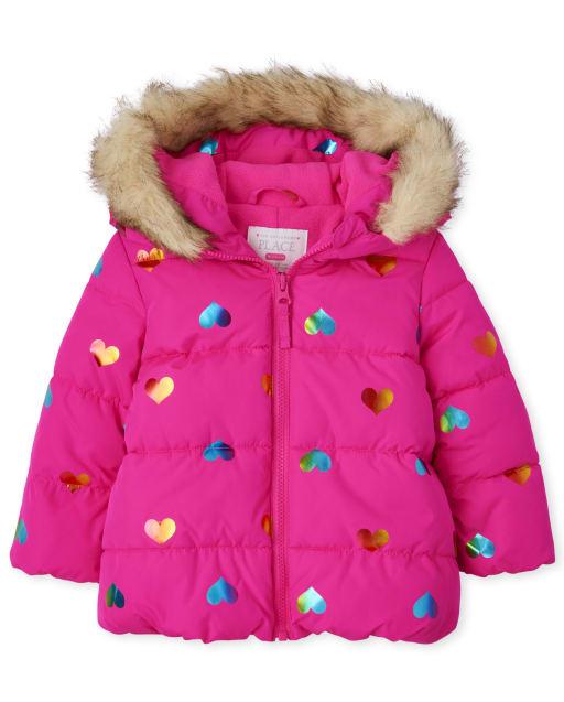 Toddler Girls Long Sleeve Rainbow Heart Print Puffer Jacket