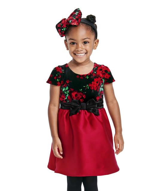 Vestido a juego tejido a juego con estampado floral de terciopelo y manga corta de Navidad para niñas pequeñas, mamá y yo