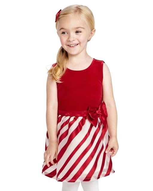 Toddler Girls Christmas Sleeveless Striped Velour Knit To Woven Dress