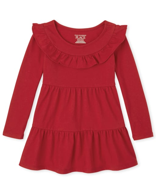 Baby And Toddler Girls Christmas Long Sleeve Knit Tiered Dress