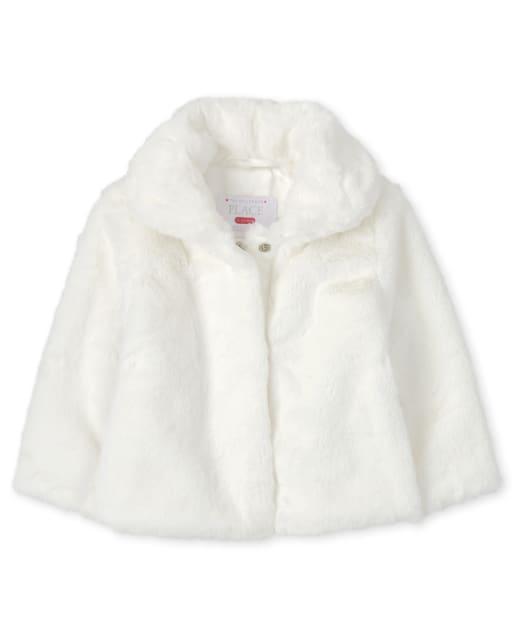 Toddler Girls Long Sleeve Faux Fur Coat
