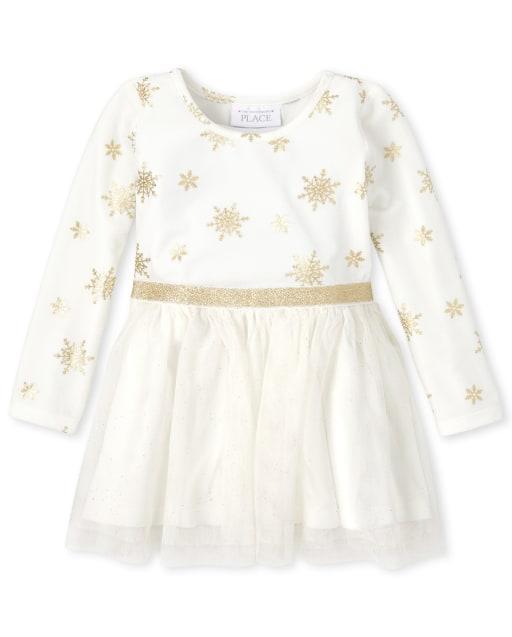 Vestido de punto a tejido de terciopelo con copo de nieve de manga larga de Navidad para bebés y niñas pequeñas