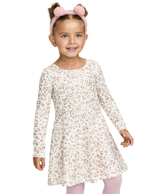Baby And Toddler Girls Long Sleeve Leopard Print Knit Skater Dress