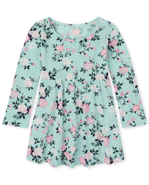 Baby And Toddler Girls Long Sleeve Floral Print Babydoll Dress