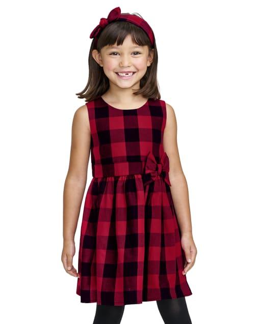 Vestido navideño de sarga a cuadros de búfalo sin mangas para niñas pequeñas