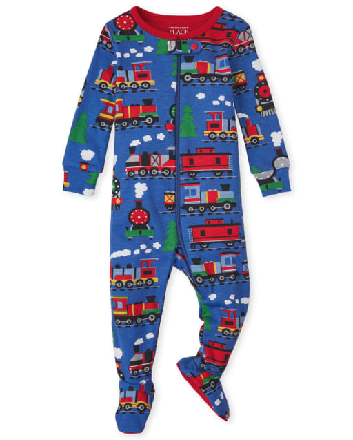 Baby And Toddler Boys Long Sleeve Train Print Snug Fit Cotton One Piece Pajamas