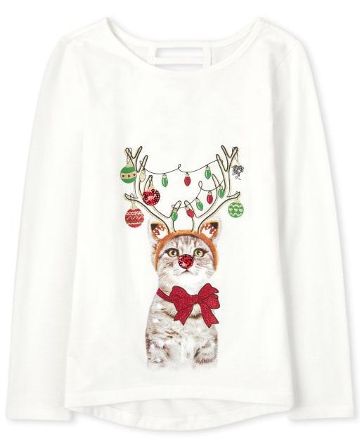 Girls Long Sleeve Christmas Cat High Low Top