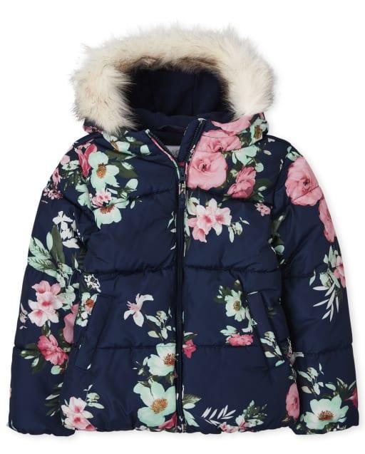 Chaqueta acolchada con capucha de piel sintética floral de manga larga para niñas