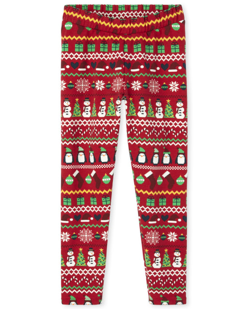 Girls Christmas Fairisle Print French Terry Knit Cozy Leggings