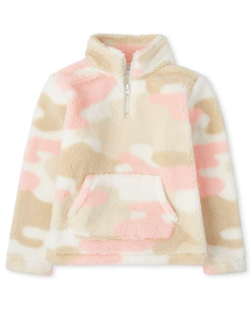 Girls Active Long Sleeve Sherpa Half Zip Mock Neck Pullover