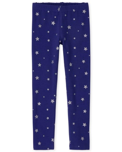 Girls Glitter Star Print Knit Leggings