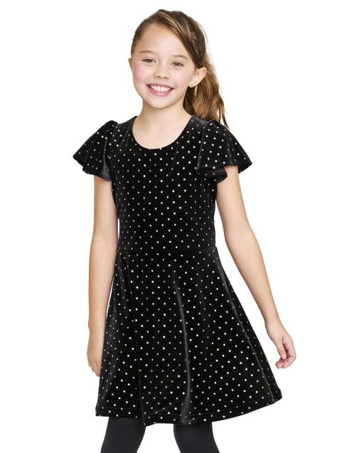 Vestido de niña de manga corta con volantes y lunares brillantes de terciopelo