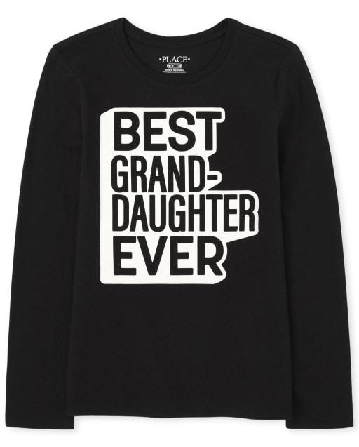 Niñas a juego con la familia de manga larga ' mejor nieta de todos los tiempos ' camiseta gráfica