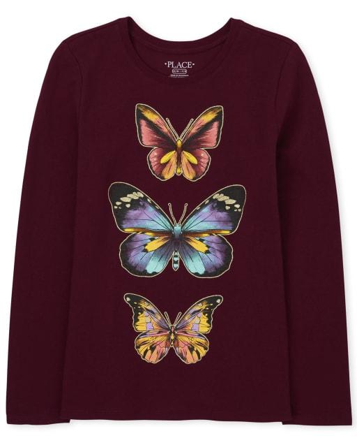 Camiseta de manga larga con estampado de mariposas para niñas