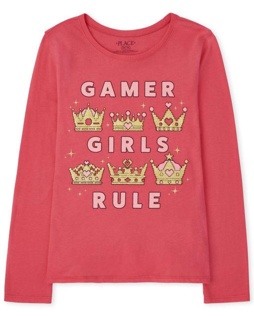 Camiseta con gráfico Gamer de manga larga para niñas