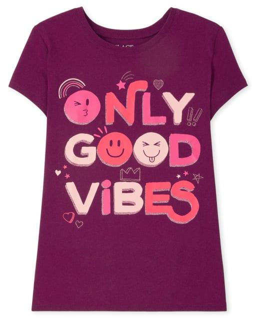 Girls Short Sleeve Good Vibes Graphic Tee