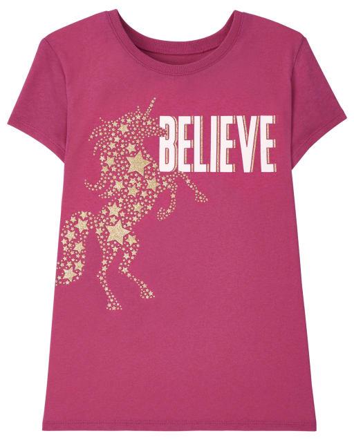 Girls Short Sleeve Believe Graphic Tee
