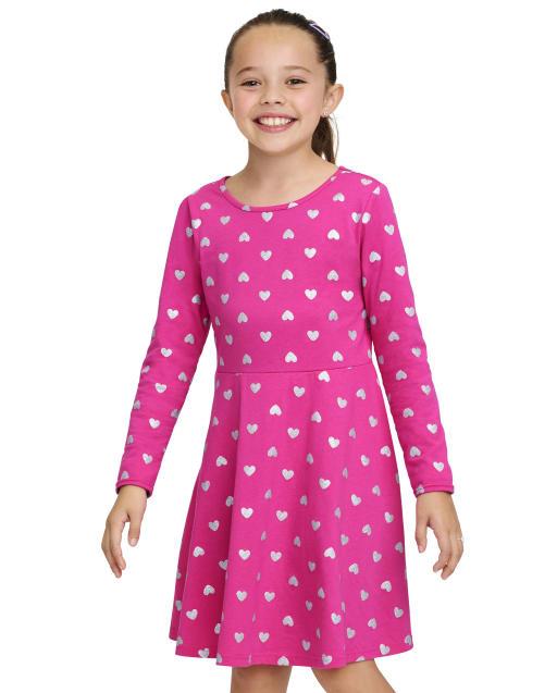 Girls Long Sleeve Glitter Heart Knit Skater Dress