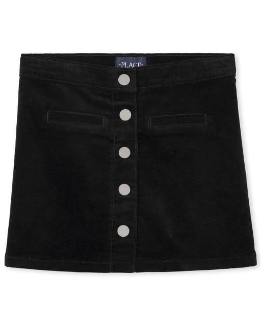 Falda de pana con botones delanteros para niñas