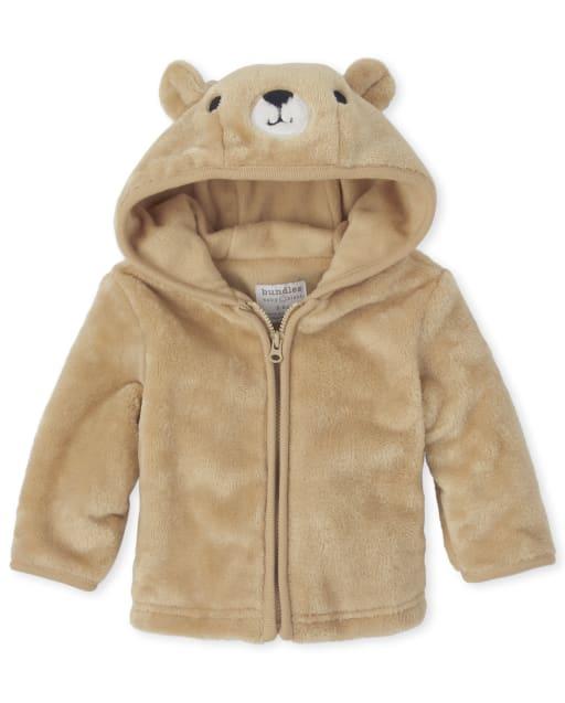 Baby Boys Long Sleeve Bear Faux Fur Cozy Jacket