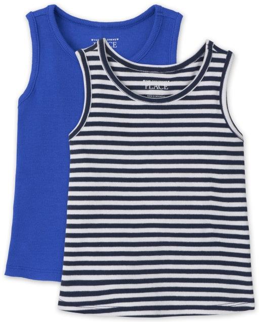 Pack de 2 camisetas sin mangas acanaladas para bebés y niñas pequeñas