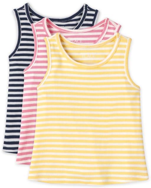 Pack de 3 camisetas sin mangas acanaladas para bebés y niñas pequeñas