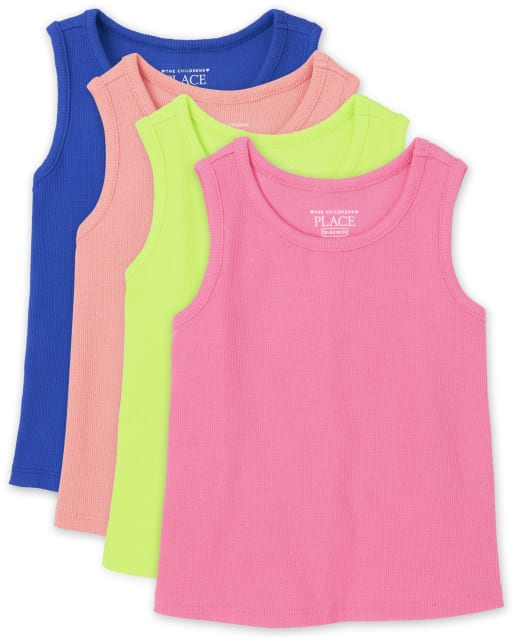 Pack de 4 camisetas sin mangas acanaladas para bebés y niñas pequeñas