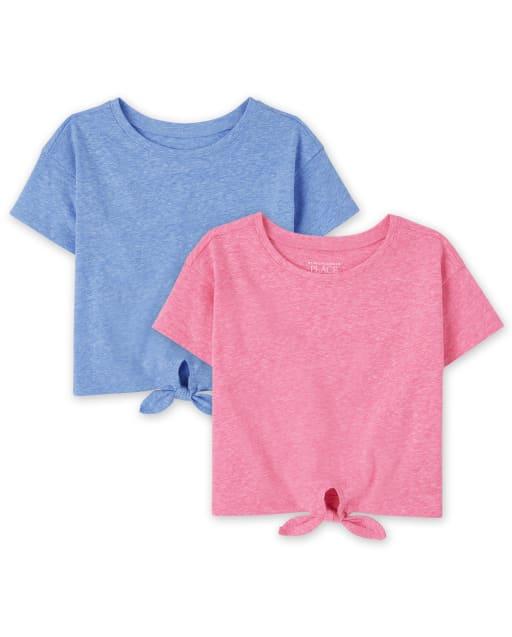 Paquete de 2 camisetas de manga corta con lazo en la parte delantera para bebés y niñas pequeñas