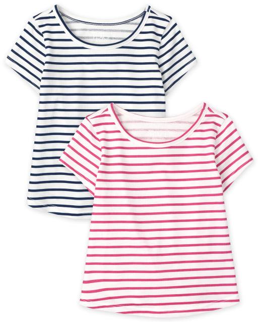 Pack de 2 camisetas de manga corta a rayas para bebés y niñas pequeñas