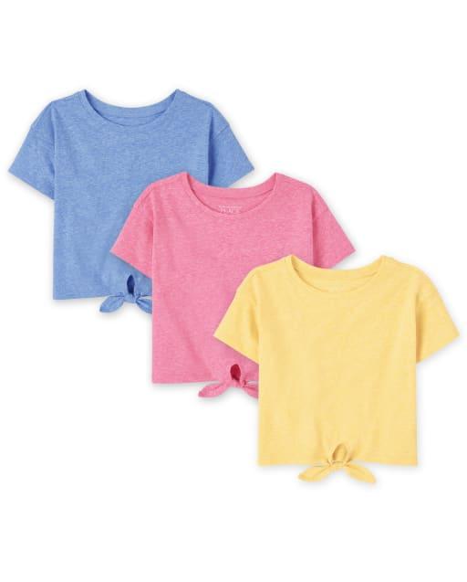 Paquete de 3 camisetas de manga corta con lazo en la parte delantera para bebés y niñas pequeñas