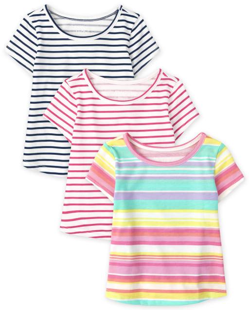 Paquete de 3 camisetas de rayas de manga corta para bebés y niñas pequeñas