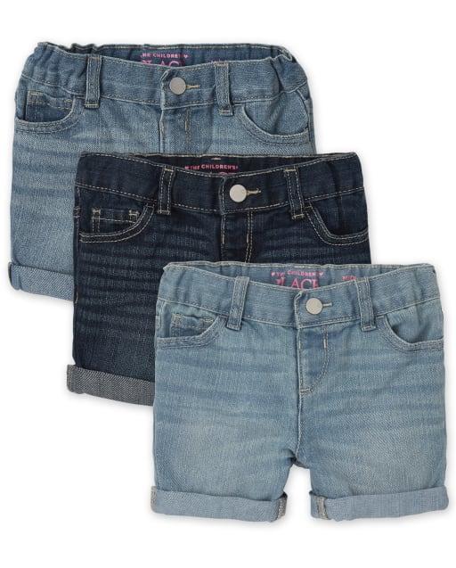 Paquete de 3 pantalones cortos de mezclilla para niñas pequeñas