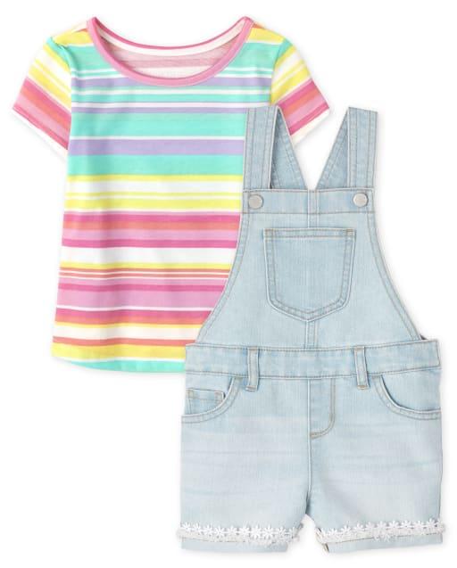 Conjunto de 2 piezas con top de manga corta con arcoíris y pantalones cortos de mezclilla de encaje para bebés y niñas pequeñas