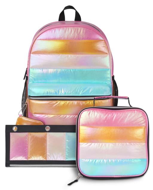 Conjunto de 3 piezas de mochila acolchada arcoíris para niñas