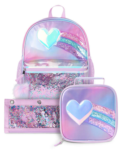 Girls Heart Shakey Backpack Lunch Box And Pencil Case 3-Piece Set