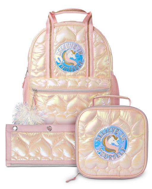 Conjunto de 3 piezas de mochila acolchada con corazón para niñas