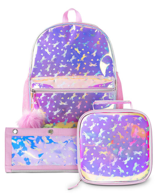 Conjunto de 3 piezas de mochila holográfica unicornio para niñas
