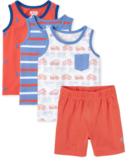 Toddler Boys Sleeveless Print Tank Tops And PLACE Sport Knit Basketball Shorts 4-Piece Mix And Match Set