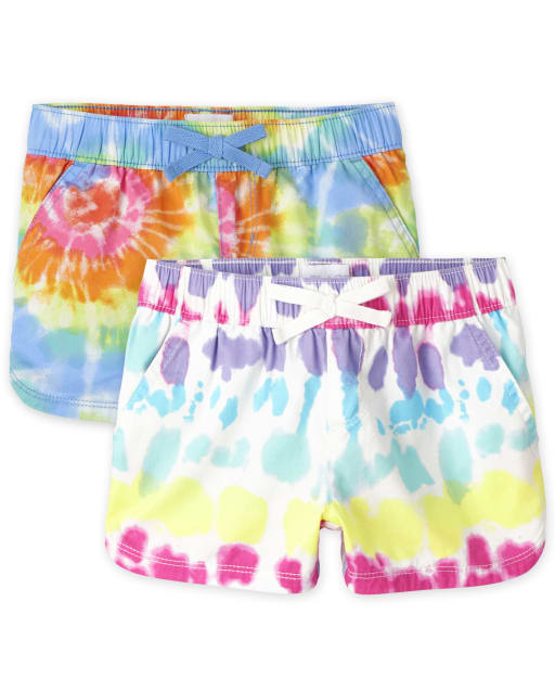 Girls Print Twill Woven Pull On Shorts 2-Pack
