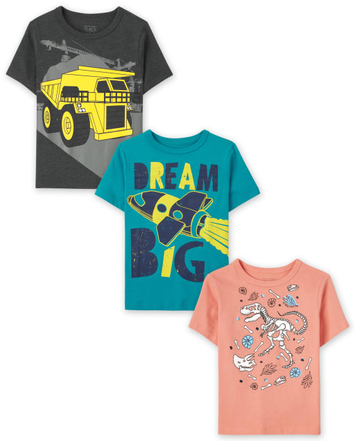 Toddler Boys Short Sleeve Dino Vehicle Graphic Tee 3-Pack