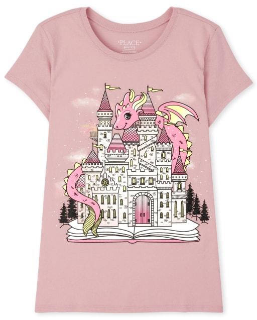 Girls Short Sleeve Castle Graphic Tee