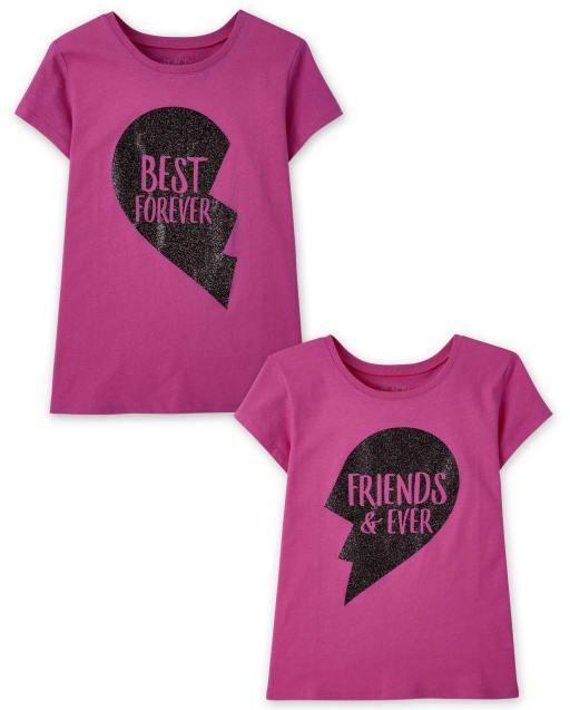 Pack de 2 camisetas estampadas BFF para niñas
