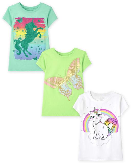 Pack de 3 camisetas con estampado de animales para niñas