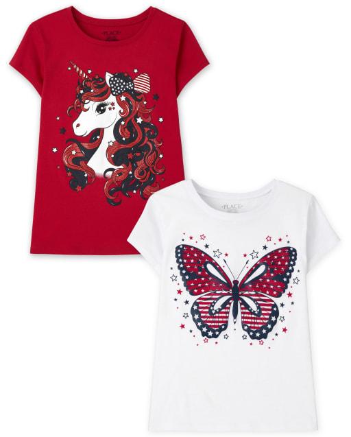 Pack de 2 camisetas estampadas Americana para niñas