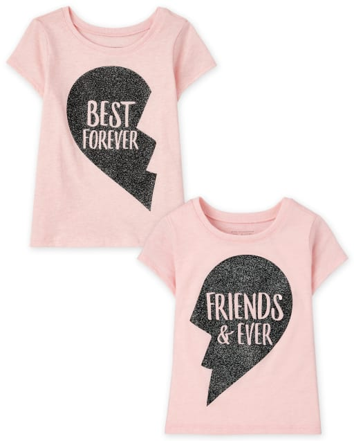 Toddler Girls Short Sleeve BFF Graphic Tee 2-Pack