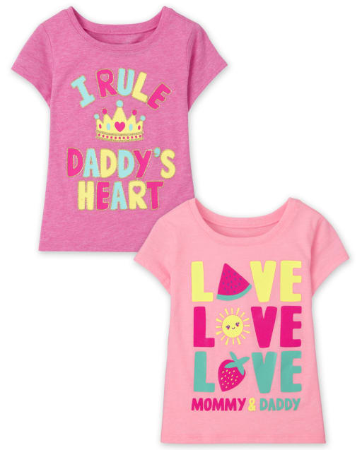 Baby And Toddler Girls Short Sleeve Family Graphic Tee 2-Pack